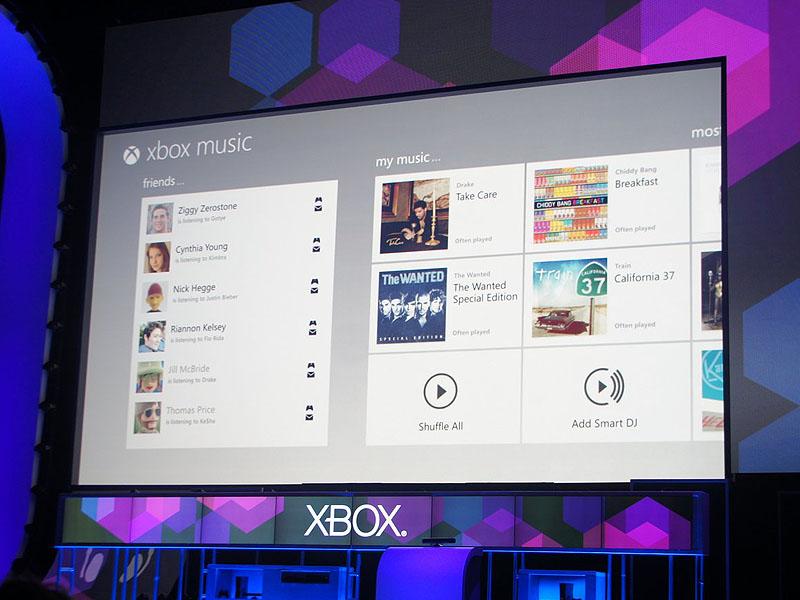 Xbox Musicのユーザーインターフェース。Metroデザインで構成され、フレンドリストも見える