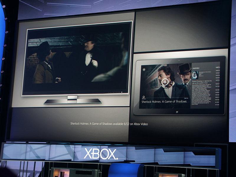 タブレットで見ていた映画の続きを、Xbox 360で見る。タブレット側には映画の詳細情報が表示される