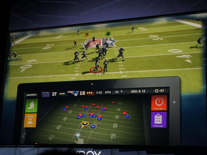 Xbox 360用のゲームをプレイする場合には、手元のスマートデバイスをサブディスプレイとしたり、追加操作用デバイスにしたりできる