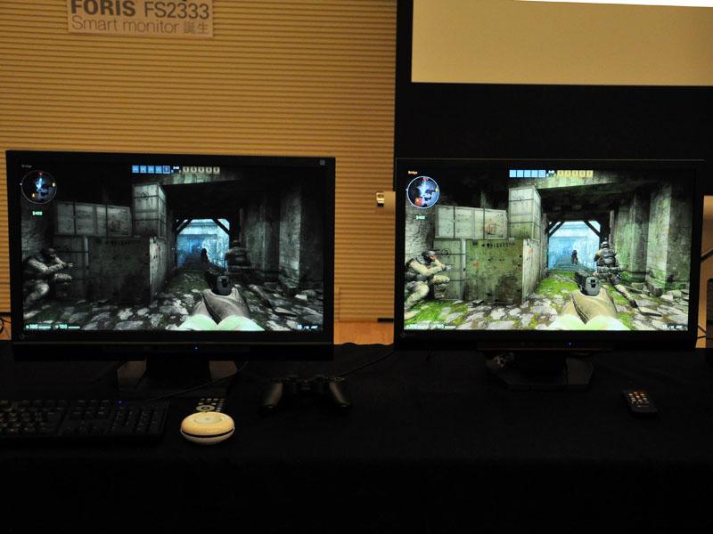 Smart Insightを適用した「FORIS FS2333」(右)。従来モデルのFS2332(左)よりも暗部の視認性が向上しているため、ゲームプレイ時に敵を見つけやすくなる