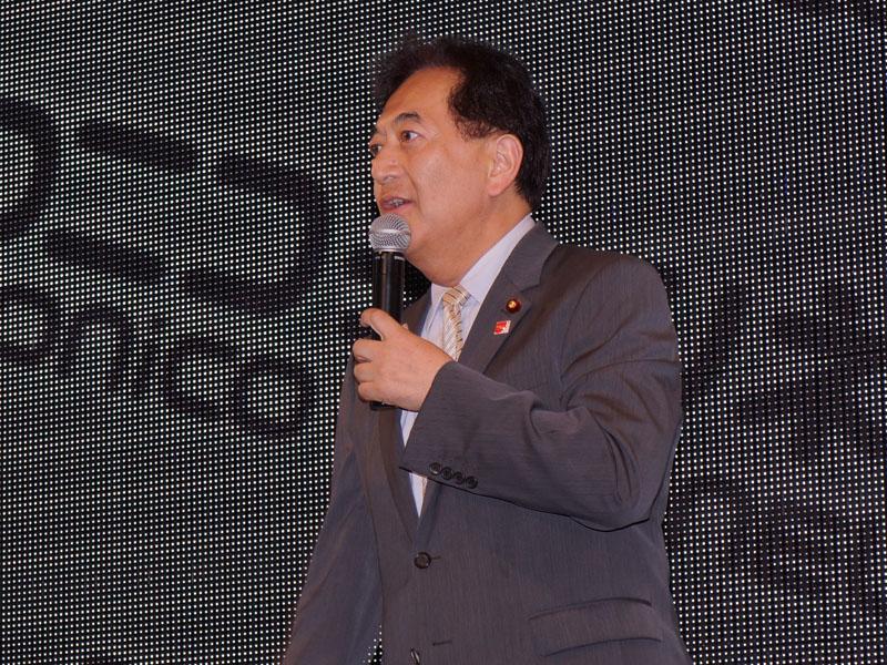 新党日本代表の田中康夫氏も応援に駆けつけた