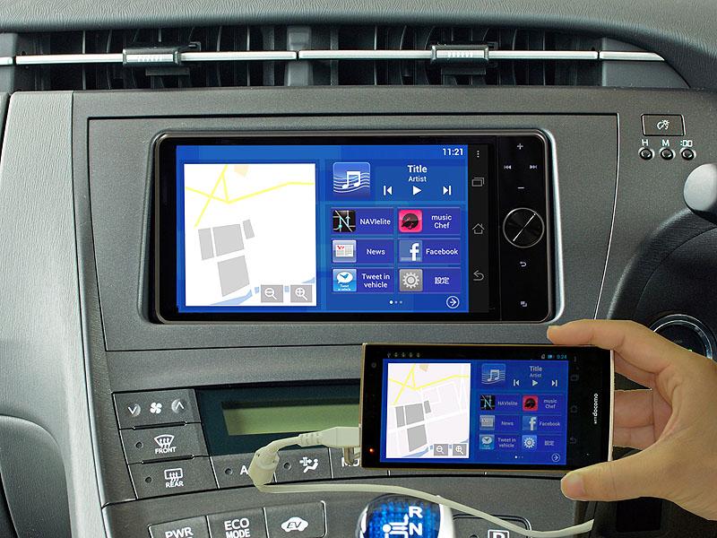 スマホで表示しているアプリの画面を、車載ディスプレイにミラーリング表示できる