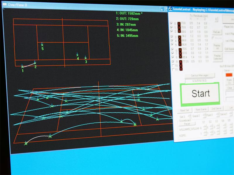 3Dホークアイのコントロール画面。ボールの軌跡は当然ながら3Dデータとして管理しているため、見る角度を様々な方向に変えながら、ホークアイの判定画面を3Dで流すことができる。実際、今年の放送でも使われていた