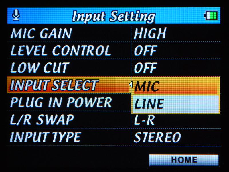 入力をMICに切り替えて外部マイクを使用できる