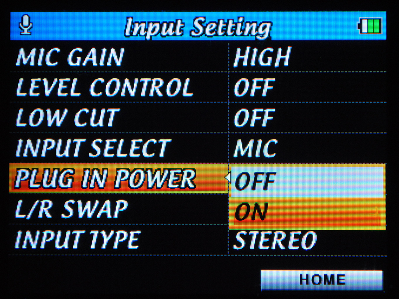 PLUG IN POWERをオンにすると対応マイクに電源供給可能