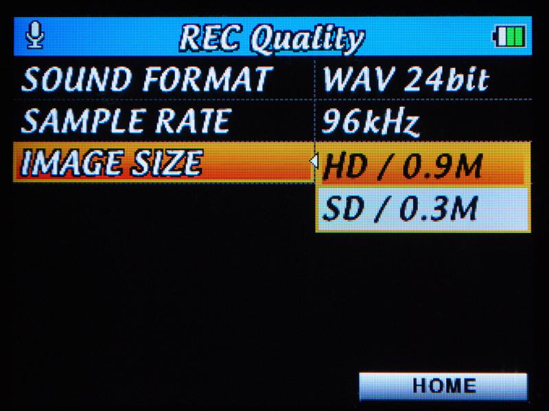 HDモードとSDモードで撮影可能