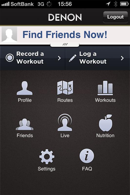 Sportsアプリのメイン画面