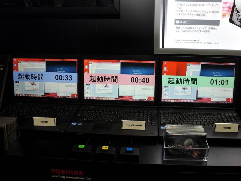 SSD/HDDのハイブリッドディスク展示