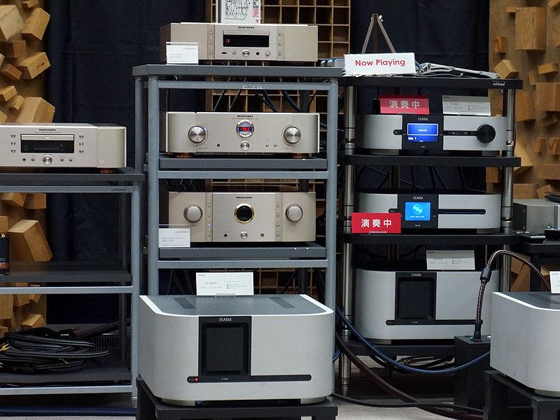 試聴用のシステム。USB DAC機能搭載SACDプレーヤー「SA-11S3」や、プリメイン「PM-11S3」も使われている
