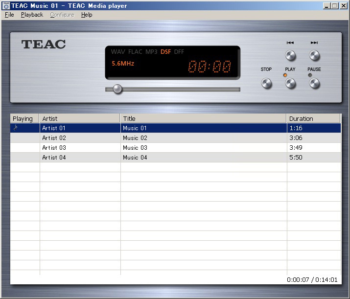 TEAC HR Audio Player(V1.0)のWindows版