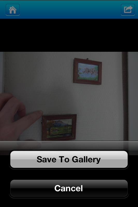 ファイルを開いた後で矢印アイコンをタップして、カメラロールに保存できる