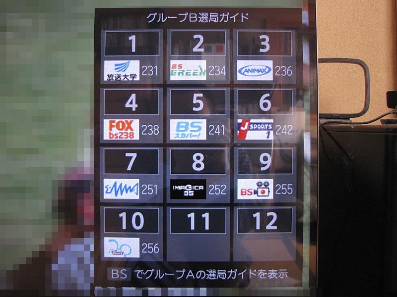 BS視聴中にさらにリモコンのBSボタンを押すと表示される「選局ガイド」