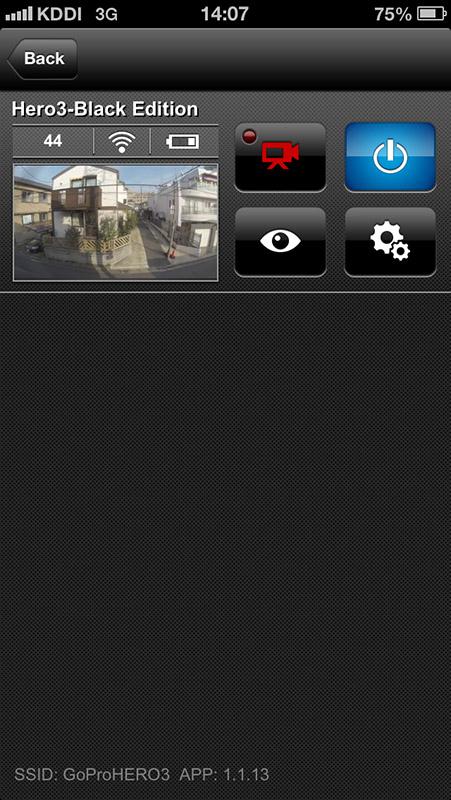 iOS版の「GoPro App」。プレビューサイズを大きくしたときのみ横置き表示可能