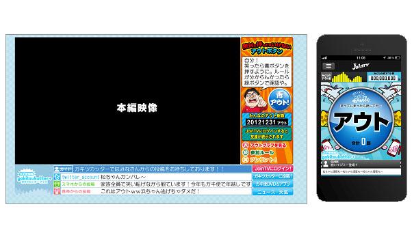 データ放送画面(左)と、スマートフォン画面(右)。画面は製作中のもので、放送時とは異なる可能性がある
