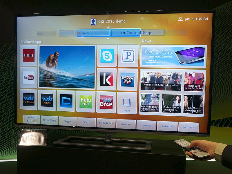 東芝が北米向けテレビに実装したクラウド機能「Toshiba Cloud TV」。日本でいう「TimeOn」と同じプラットフォームを使っている