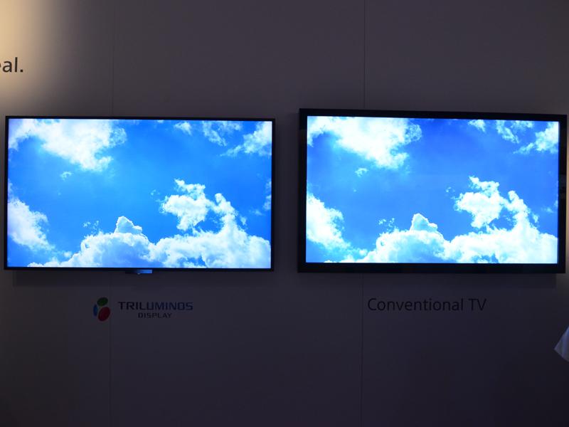 TRILUMINOS Display採用テレビと従来モデルとの色再現性比較。意外にも写真でも相対的な違いはうかがい知れる