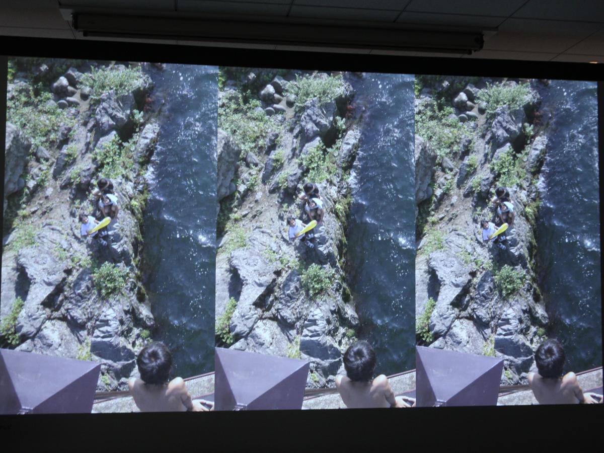 映像の違い(画面を3分割している)。左からフルHD/4K/8K