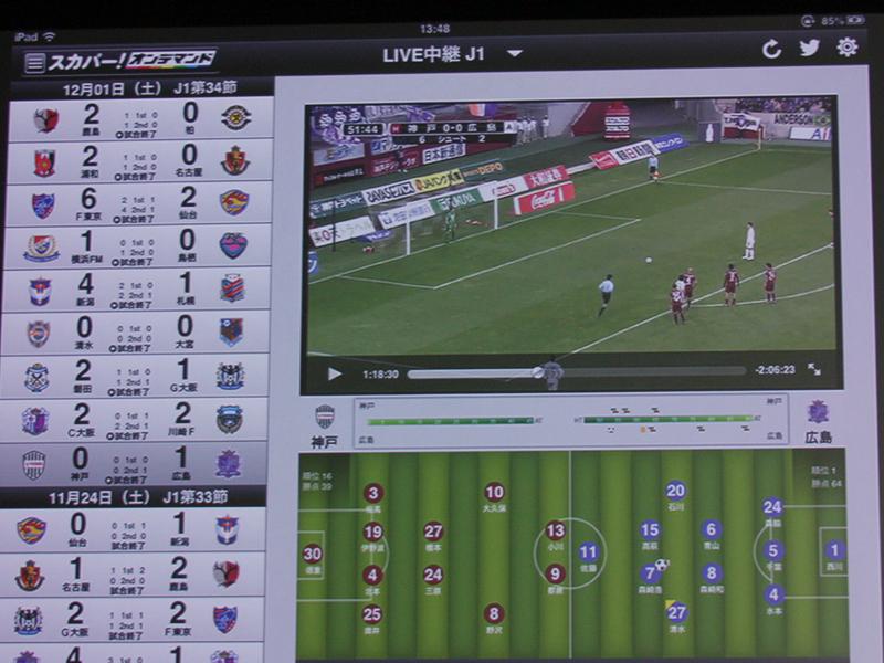 タブレット向けの配信画面。左側から試合を選んでライブ視聴できる。試合終了後は見逃し配信となる