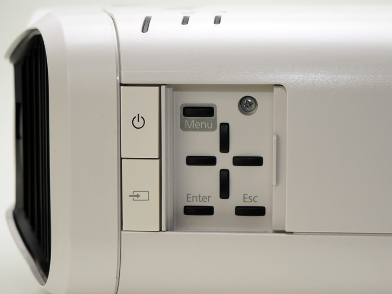 リモコンが見つからない緊急時用の簡易操作パネル。本体側面に配されている。