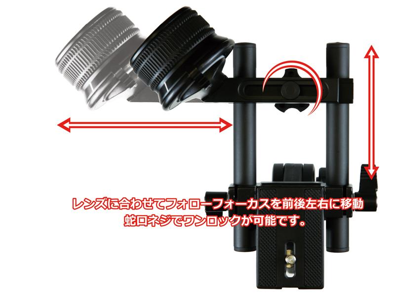 レンズのサイズに合わせて移動可能。蛇口式ネジで固定