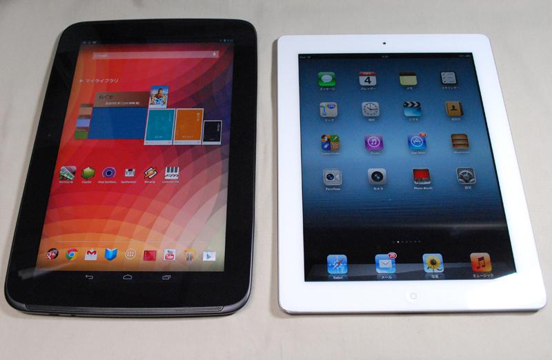 Nexus 10(左)と第3世代iPad(右)