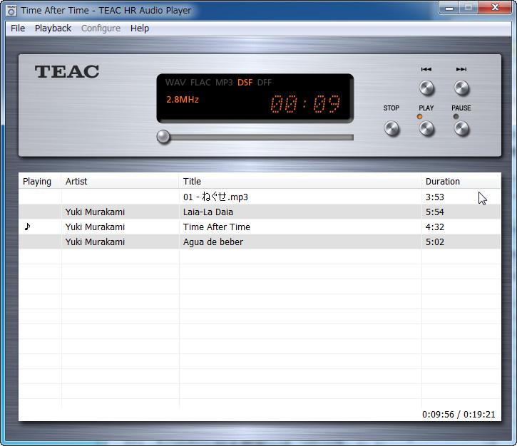 TEAC HR Audio Player(Windows版)