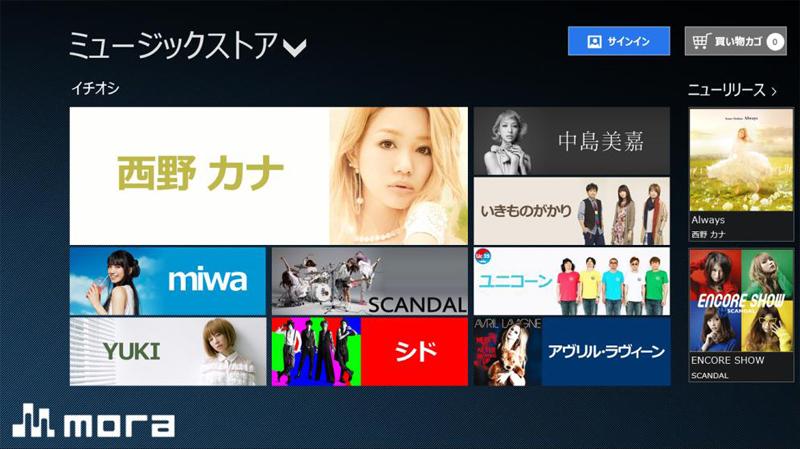 mora Windows 8ストアアプリのイメージ。アプリ内でサインインできる
