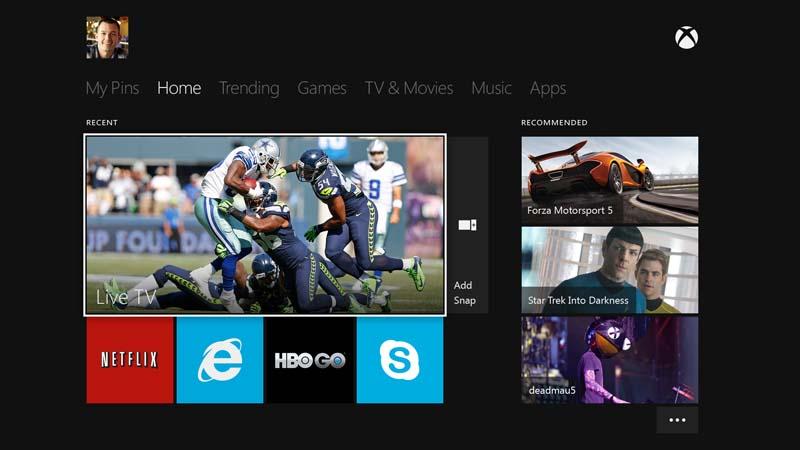 Xbox Liveホームスクリーン