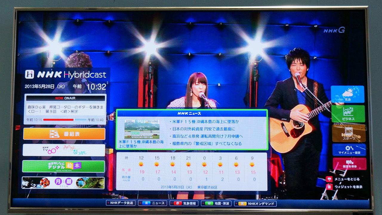 【写真1】NHKがNHK技研公開でデモした、Hybridcastコンテンツ。対応機器でdボタンを押すと、これが表示される