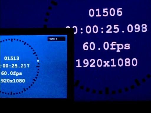 「シーン=切」×「画質モード=スタンダード」で約119ms(60Hz時換算で約7.1フレームの遅延)