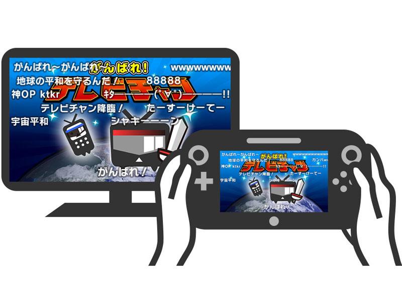 テレビ画面とWii U GamePadでニコニコチャンネルのアニメを視聴しているイメージ