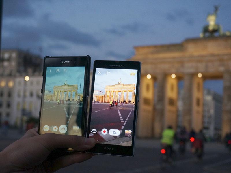 同じ撮影ポイントで、Xperia ZとZ1を表示して比較。画面の中の感じがまったく異なっている点に注目