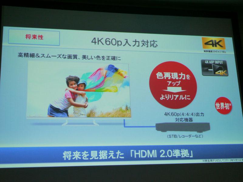 4K60p入力に対応。4:4:4対応によって色再現性を向上