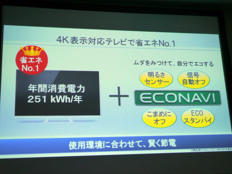 エコナビによって、4K対応テレビとしてはナンバーワンの省エネを達成