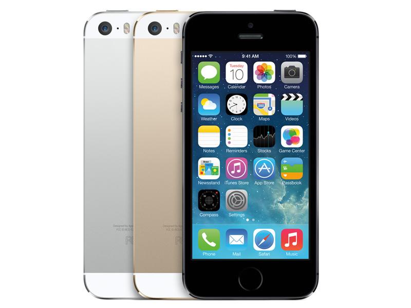 iPhone 5s。カラーは左からシルバー、ゴールド、スペースグレイ