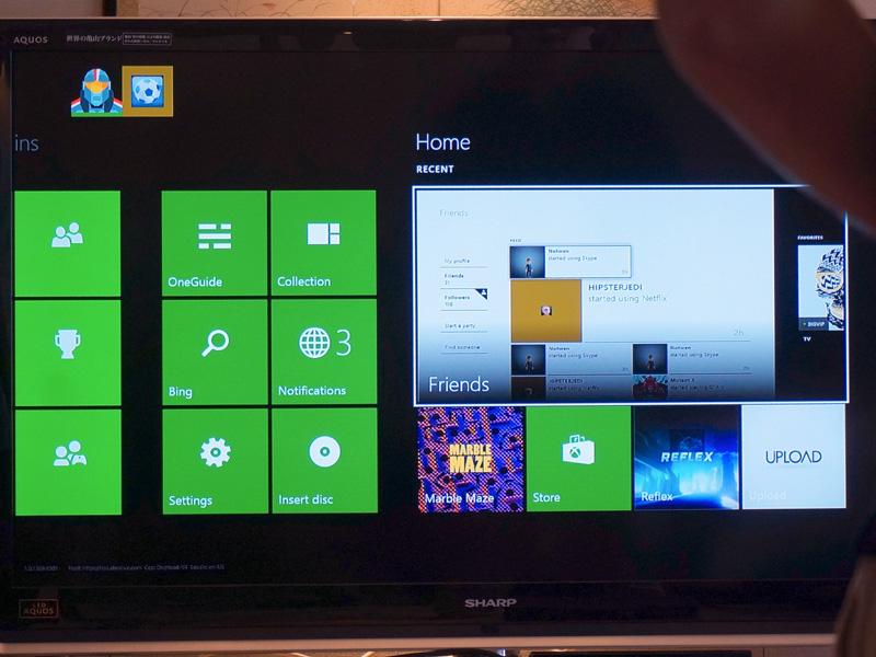 Xbox Oneのメインメニュー「ダッシュボード」。Windows 8やWindows Phoneのタイル画面に似ているが、設計思想はXbox Oneに特化している。「Recent」(最近起動したもの)という表示に注目