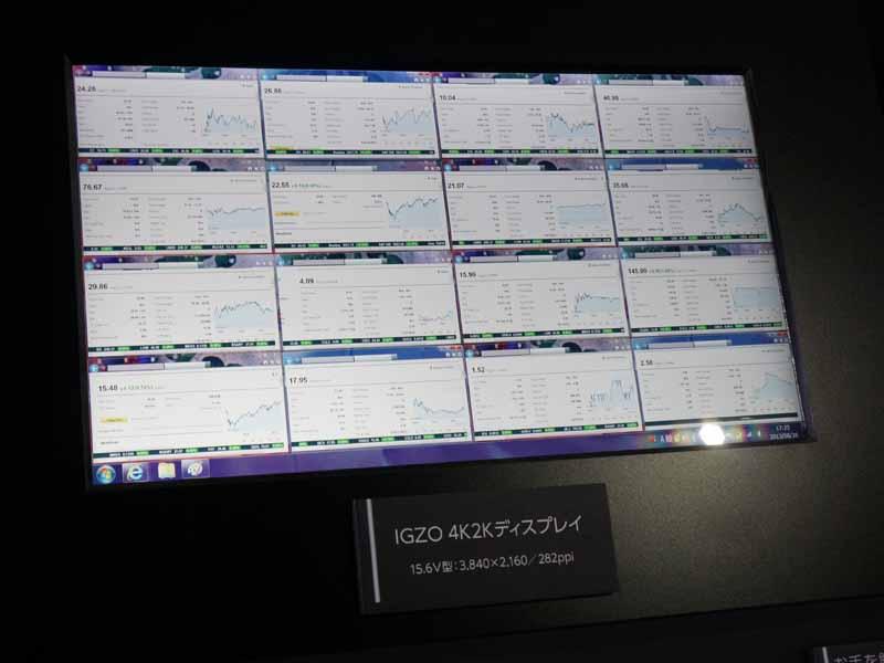 ノートPC向けの15.6型、4K2K IGZOディスプレイ