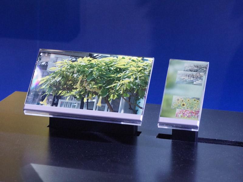8.8型と4.9型のフレームレスIGZOコンセプトモデルも展示された