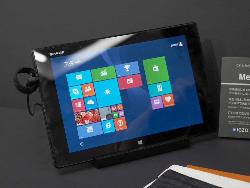 '14年1月以降に発売される10.1型IGZO搭載Windows 8.1タブレットの「Mebius Pad」も展示された。2,560×1,600ドット/約300ppiの高精細液晶や、LTE通信対応などが特徴。IntelのAtom Z3770を搭載する