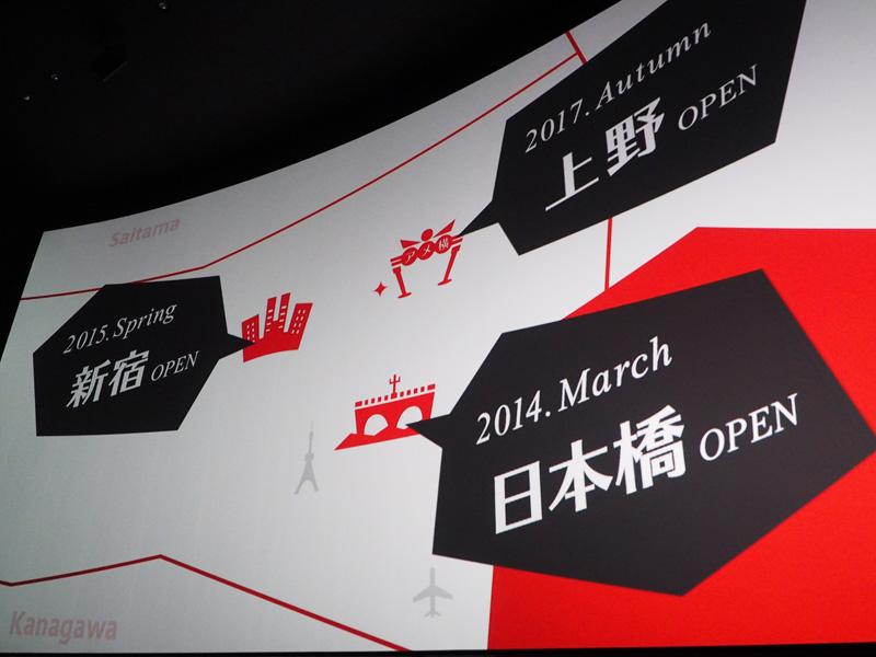 TOHOシネマズは、'14年3月の日本橋オープン後も、'15年春には新宿、'17年秋には上野にそれぞれ開業予定
