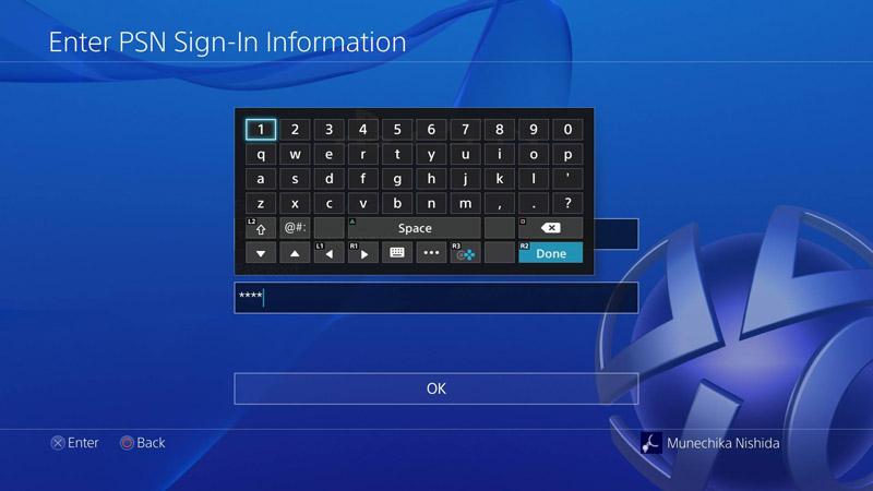 PS4での文字入力画面。IDやパスワード入力の他、チャットなどでも利用。日本語の場合には、ローマ字でなく「あいうえお」配列での入力となる