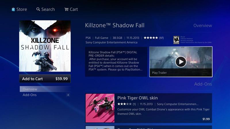 PS4上のPlayStation Store。画面中央右に、トレイラー動画のボタンがあるが、PS4の場合には、押した後数秒以内に全画面での再生が始まる