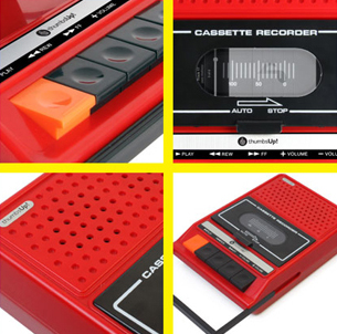取っ手やボタンなどに、レトロなカセットデッキのデザインを採用している