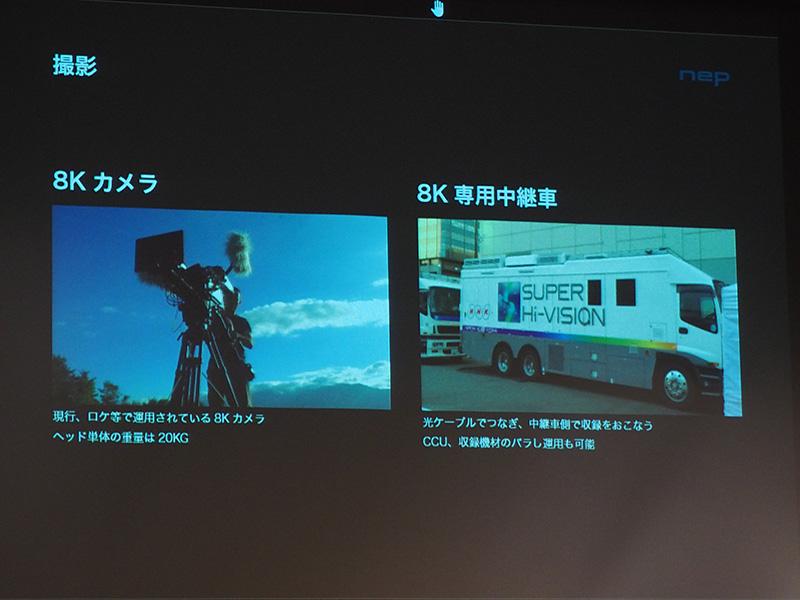 現在使われている8Kカメラと8K専用の中継車
