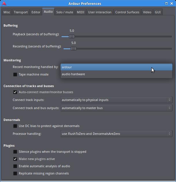PreferenceのMonitoring設定を、ハードウェアからArdourに変更