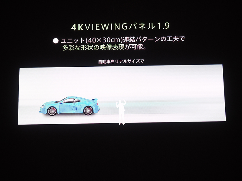 ワイド画面にすると、実物大の自動車が走るような映像も表示できる