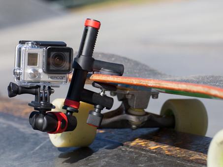 スケートボードに取り付けた使用イメージ
