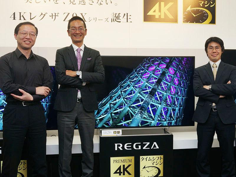 左から画質関連技術担当の住吉氏、商品企画担当の本村氏、プラットフォーム担当の山内氏