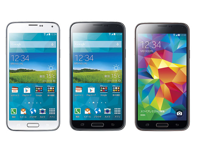 GALAXY S5。左からshimmery WHITE、charcoal BLACK、champagne PINK