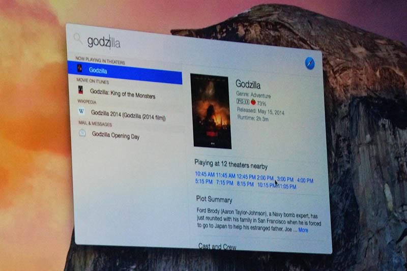 Spotlightから映画を検索。ちょうどアメリカでは「GODZILLA」を公開中なので、そちらが例に